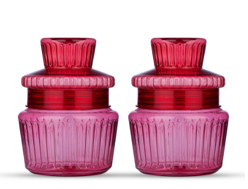 TWENOZ Plastic Jar And Container With Lid For Dry-Fruit, Nuts, Cookie Storage Jar - 450 Ml (Pack Of 2, Red)
