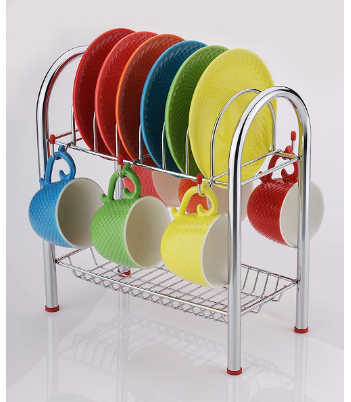 Jalaram 2 Layer Stainless Steel Kitchen Dish Rack Plate Cutlery Stand/Kitchen Storage Rack Cup and Saucer Stand/Holder for 6 Cups, 6 Plates