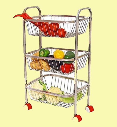 Kanshita's Rasoiware Stainless Steel 3 Layer Kitchen Trolley Rack (Silver)