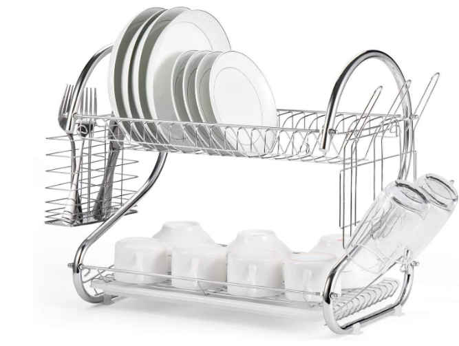 SROY Enterprise Stainless Steel S Shape 2 Layer Kitchen Dish Drainer Organizer Storage Rack - Plate, Cutlery Utensil, Fruits and Vegetable Drying Drain and Storage Stand (Silver)