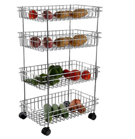 Satguru Stainless Steel Kitchen Perforated Trolley Fruits and Vegetable Storage Rack/Trolley/Stand (Silver Color) (4 Layer)