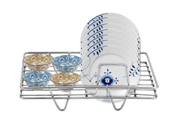 HeavenFort Stainless Steel 7 Plate Dish Rack Holder with Cup/Dish/Crockery Set Stand for Kitchen Platform - Silver