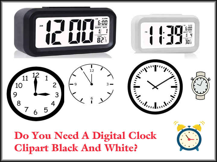 Best Digital Clock Clipart Black And White