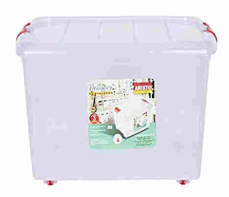 ARISTO Multipurpose Plastic Storage Container Box with Wheels 25 LTR (Clear, Transparent)