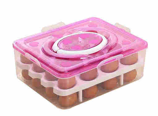 Manovruti Double Layer Egg Storage Box for Egg Storage Container Holder with Lid and Tray Plastic Carrier Cases Refrigerator Fridge Kitchen Food Storage Box