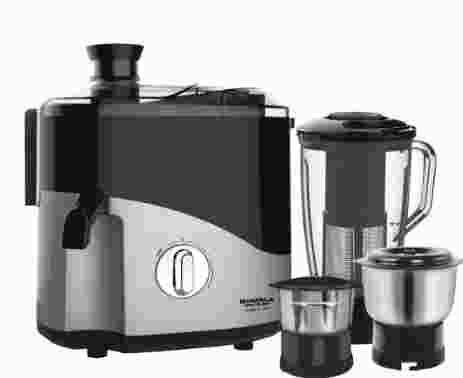 Maharaja Whiteline Odacio Plus 550-Watt Juicer Mixer Grinder with 3 Jars (Black/Silver)