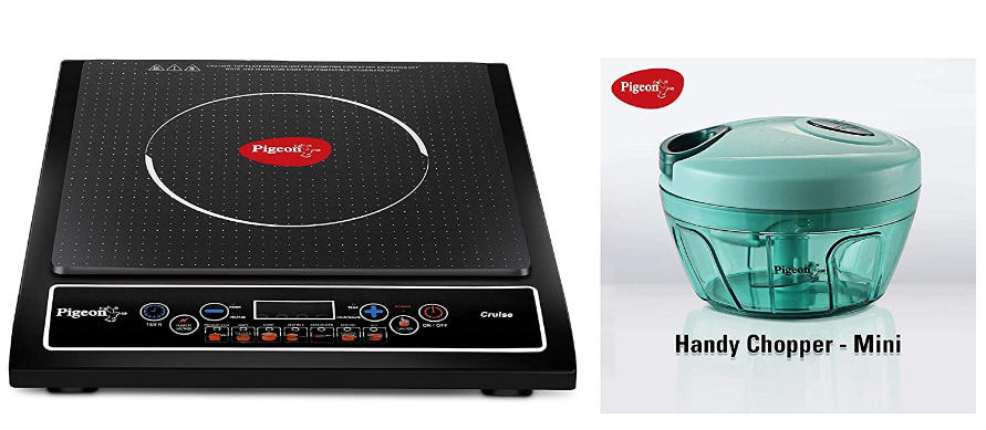 1800-Watt Induction Cooktop (Black) by Pigeon Stovecraft with New Handy Mini Plastic Chopper with 3 Blade, Green, and Pigeon Stovecraft Cruise