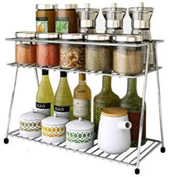 EverEx Stainless Steel Spice 2-Tier Trolley