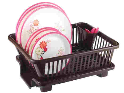 Durable Plastic Kitchen Sink Dish Drainer Crockery Drying Rack and Spoon