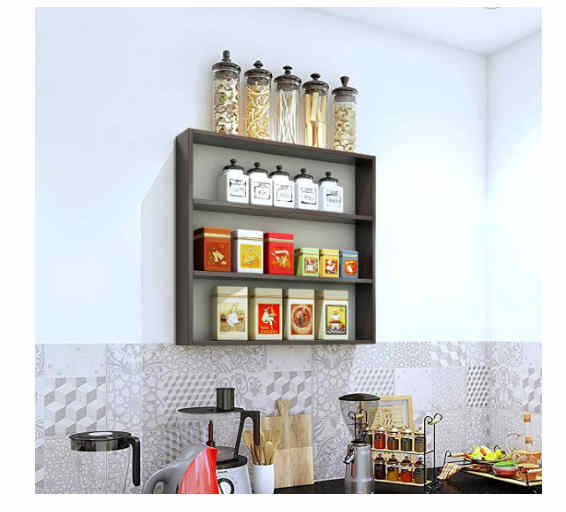 Furnifry Wooden Wall Mounted Shelves for Kitchen