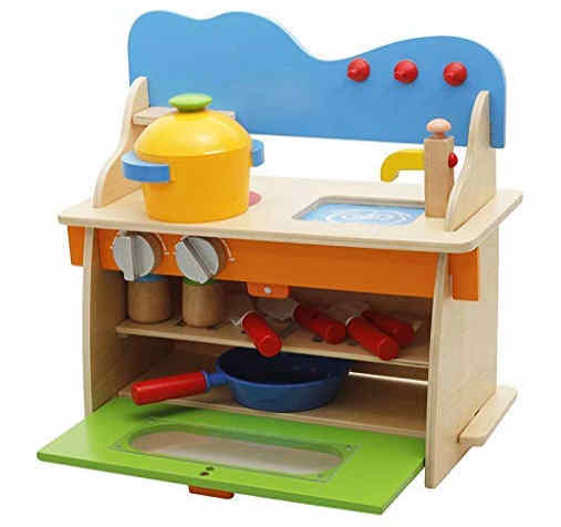 Webby Wooden Kitchen Toy Set with Utensils Cupboard for Kids